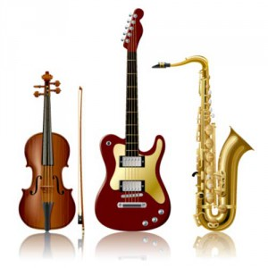 Musical Instruments - violin, guitar and saxophone